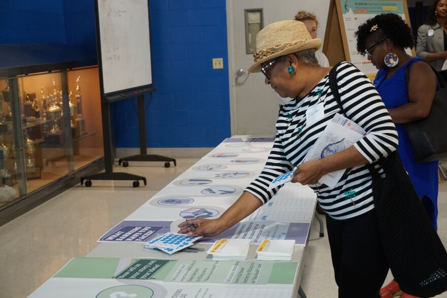 During an open house event at Vashon High School, Elaine Laura, a resident of the St. Louis Place neighborhood, places markers on a sheet indicating what barriers she has faced in the workplace. 07/23/19 at Vashon High School