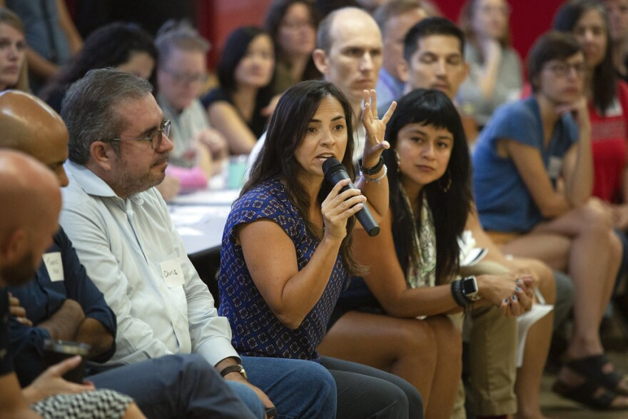 Dozens of parents and local residents attend a public meeting at Ridgetop Elementary, one of the schools slated for closure, on Sept. 31, 2019.