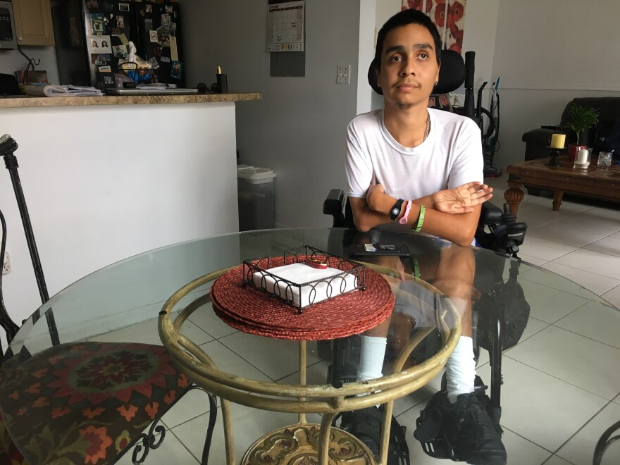 Geancarlo Rodriguez, shown here in his Hialeah home, is a part-time clerical assistant at Hialeah Gardens High School. He didn't get paid when schools closed for seven days because of Hurricane Irma and says the district's payroll policy is unfair.