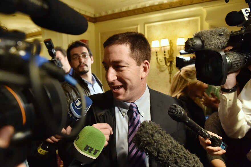 Glenn Greenwald in April, arriving in the U.S. for the first time since documents were disclosed to him by former intelligence analyst Edward Snowden.
