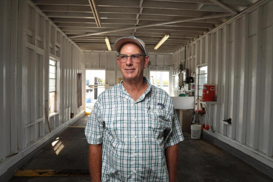 Grant Erickson at the Erickson and Jenson Seafood Packaging facility in Aransas Pass.
