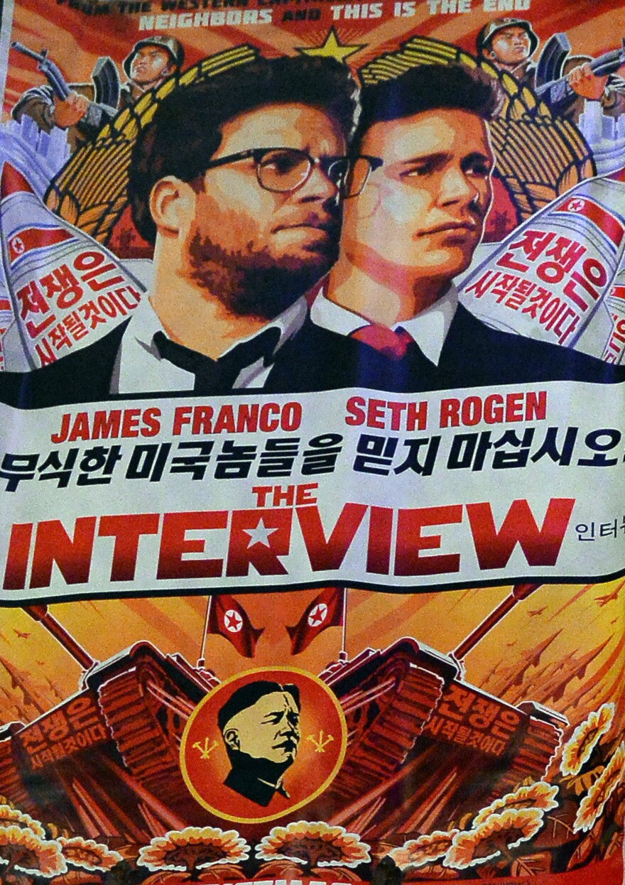 A poster for <em>The Interview, </em>which will open in nearly 300 theaters on Christmas Day. The movie is also being shown on streaming services.