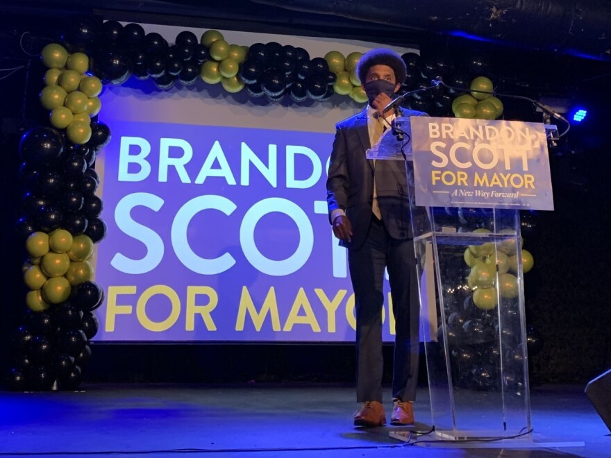 Brandon Scott, Baltimore's youngest mayor in more than a century, at his election night party last month.