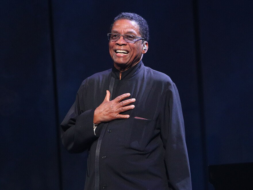 """It's about more than being American, or Australian, or any particular group. But it celebrates the cultures of all the groups. This is what jazz really does,"" Herbie Hancock tells NPR. Here, Hancoock is pictured onstage during the International Jazz Day 2019 All-Star Global Concert."