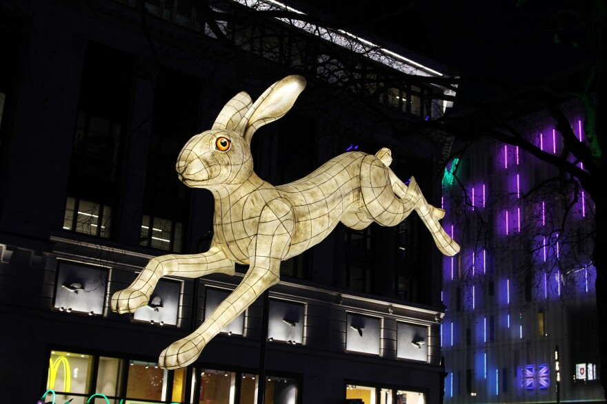 <em>Nightlife</em> in London's Leicester Square was one of dozens of light installations on display around the city.
