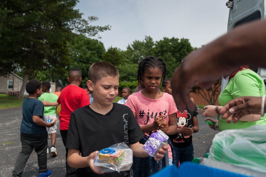 A Jennings child expresses disappointment about the lack of chocolate milk options on the first day of summer school. Operation Food Search, a regional food bank, will supply meals to a thousand students at the north St. Louis County school district this