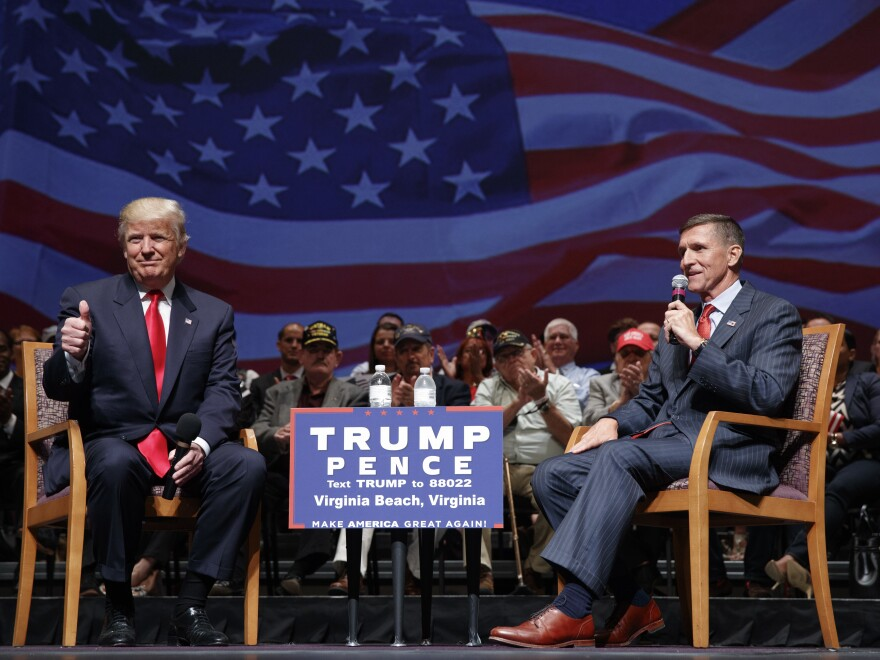 Retired Lt. Gen. Michael Flynn appeared with Donald Trump during a town hall on Sept. 6 in Virginia Beach, Va. The former Defense Intelligence Agency boss is a Trump national security insider.