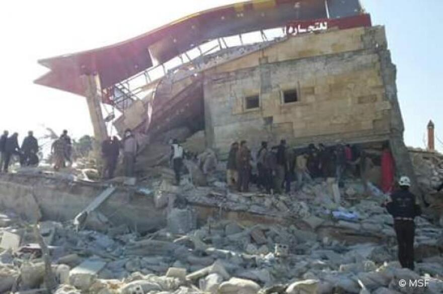 "A hospital in Idlib province was destroyed Monday in what Massimiliano Rebaudengo, MSF's head of mission in Syria, calls ""a deliberate attack on a health structure."""