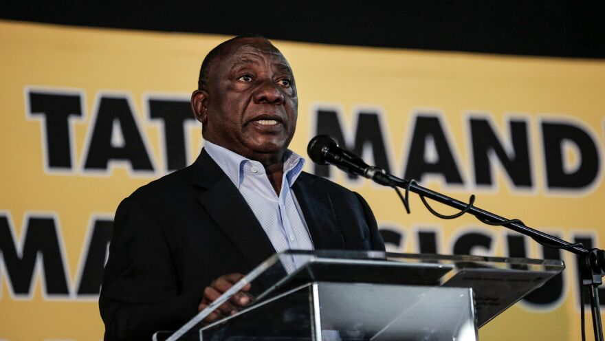 South African President Cyril Ramaphosa speaks to the ruling African National Congress party earlier this year in Johannesburg, focusing mostly on land reform policies.