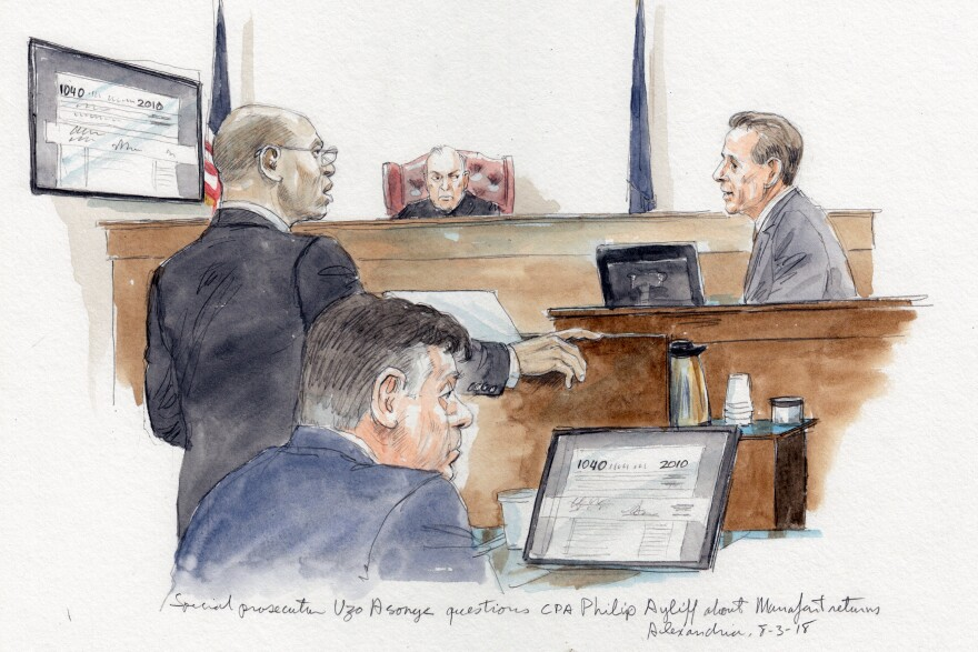 Special prosecutor Uzo Asonye is depicted questioning certified public accountant Philip Ayliff about onetime Trump campaign chairman Paul Manafort's tax returns.