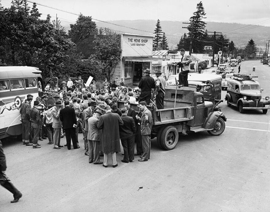 Harold Stassen is seen among a crowd of voters on the campaign trail in Cascade Locks, Ore. in May 1948.