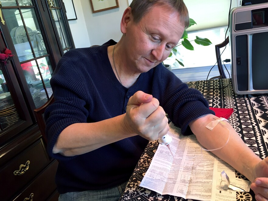Randy Curtis has hemophilia. These days he regularly injects the clotting factor treatments he needs from home, as a relatively easy way of preventing the episodes of catastrophic bleeding that plagued him as a child.