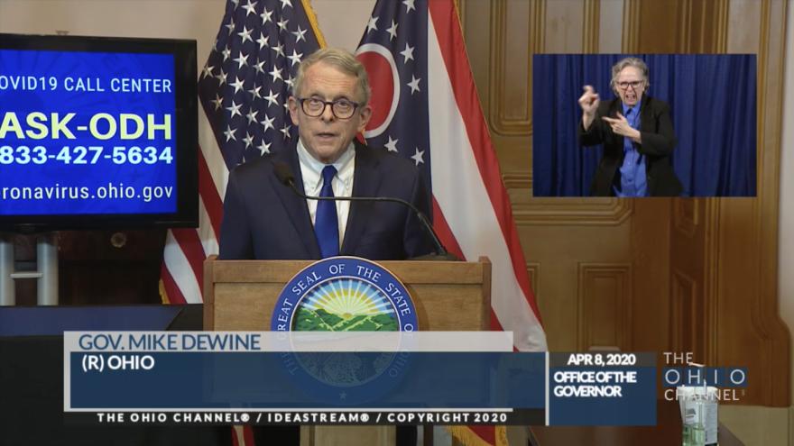 Ohio Governor Mike DeWine during his April 8, 2020 coronavirus briefing.