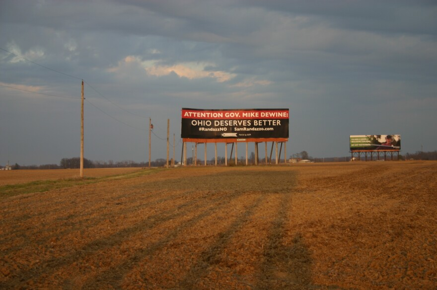 A Billboard paid for by the Ohio Consumers Power Alliance on Interstate 70 near Columbus