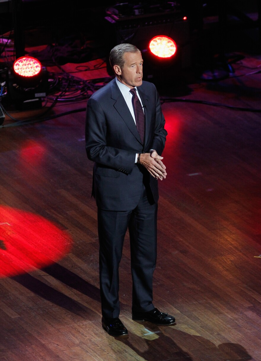 Journalist Brian Williams hosts  The Lincoln Awards: A Concert For Veterans & The Military Family on Jan. 7 at John F. Kennedy Center for the Performing Arts in Washington. Recent reports suggest the suspended NBC anchor may have embellished several of his stories.