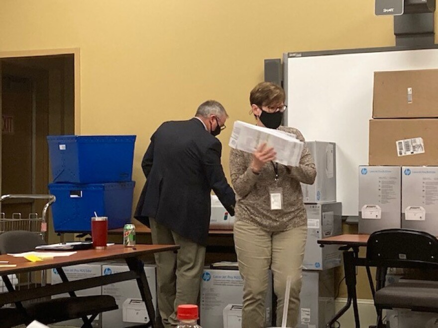 Ballot counting at Cabarrus County Election's Board.