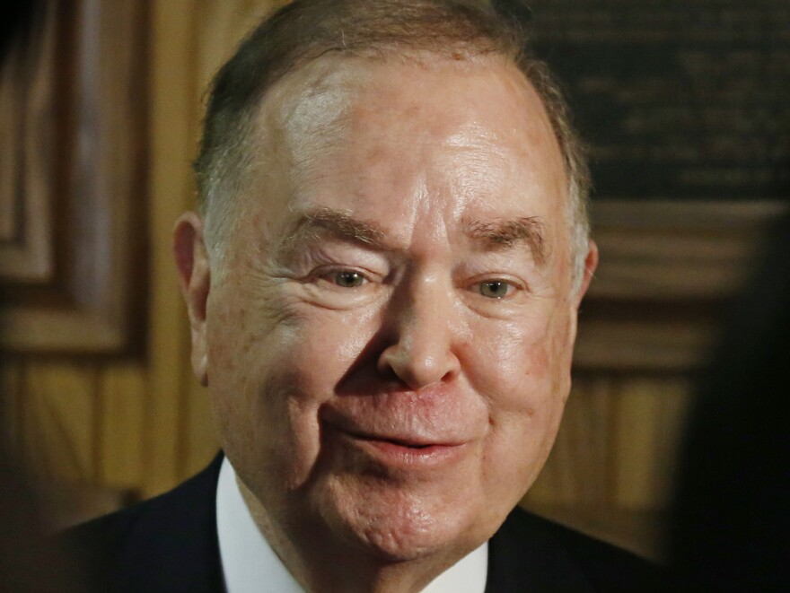 University of Oklahoma President David Boren talks with the media before the start of a Board of Regents meeting in Oklahoma City earlier this month in which the SAE fraternity issue was to be discussed.