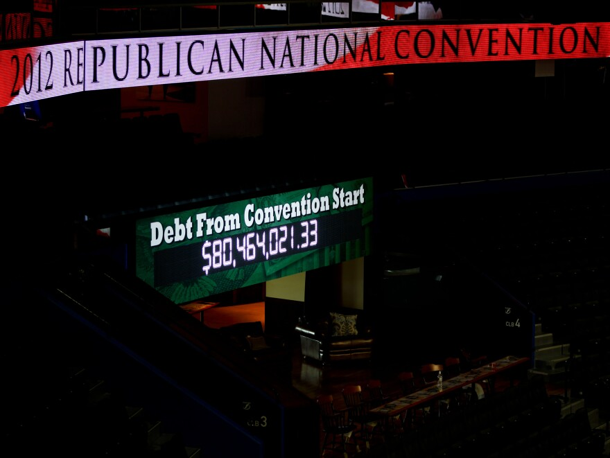 Within minutes after being turned on Monday, the GOP's clock measuring how much the national debt had grown was moving up quickly.
