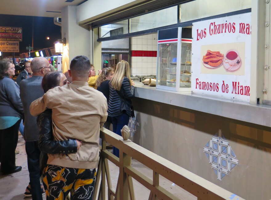 La Palma Calle Ocho is perhaps the most popular spot for churros in Miami. As temperatures dipped below 60 degrees Fahrenheit on a recent evening, long lines formed for the eatery's famous fried dough sticks.