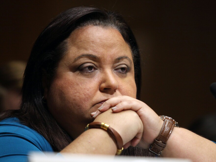 """Melba Acosta Febo, president of the Government Development Bank for Puerto Rico, in an appearance on Capitol Hill in September. She says the island's finances are """"severely constrained."""""""