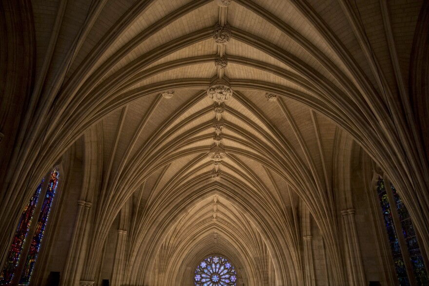 A view of the Washington National Cathedral's main nave.