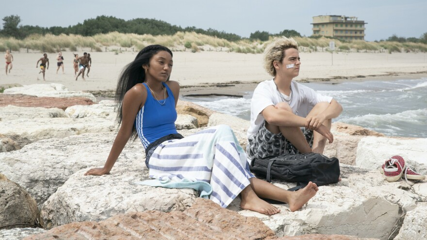 Caitlin (Jordan Kristine Seamon) and Fraser (Jack Dylan Grazer) see the sea in <em>We Are Who We Are.</em>