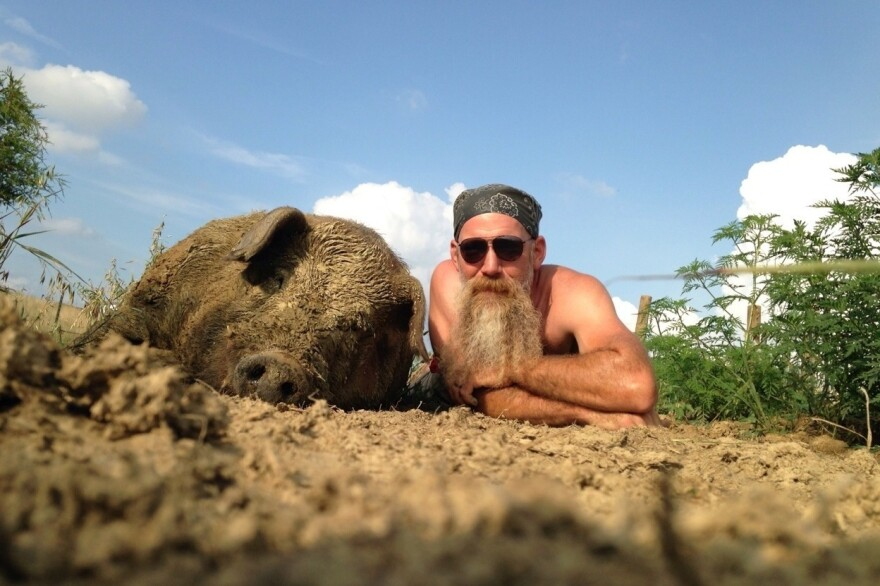 Kentucky hog farmer Travis Hood with Luther, a young Red Wattle boar. Hood started raising Red Wattles five years ago after cuts to his job, and began turning a profit on the meat in February.