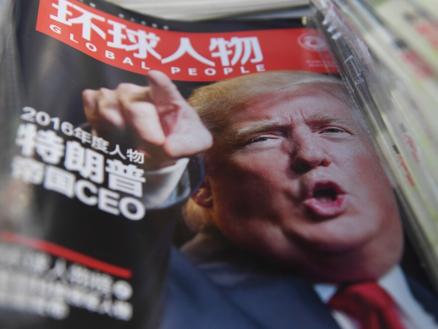 A Chinese magazine naming President-elect Donald Trump as Person of the Year is seen at a Beijing newsstand in December. On the campaign trail, Trump repeatedly vowed to get tough on China.