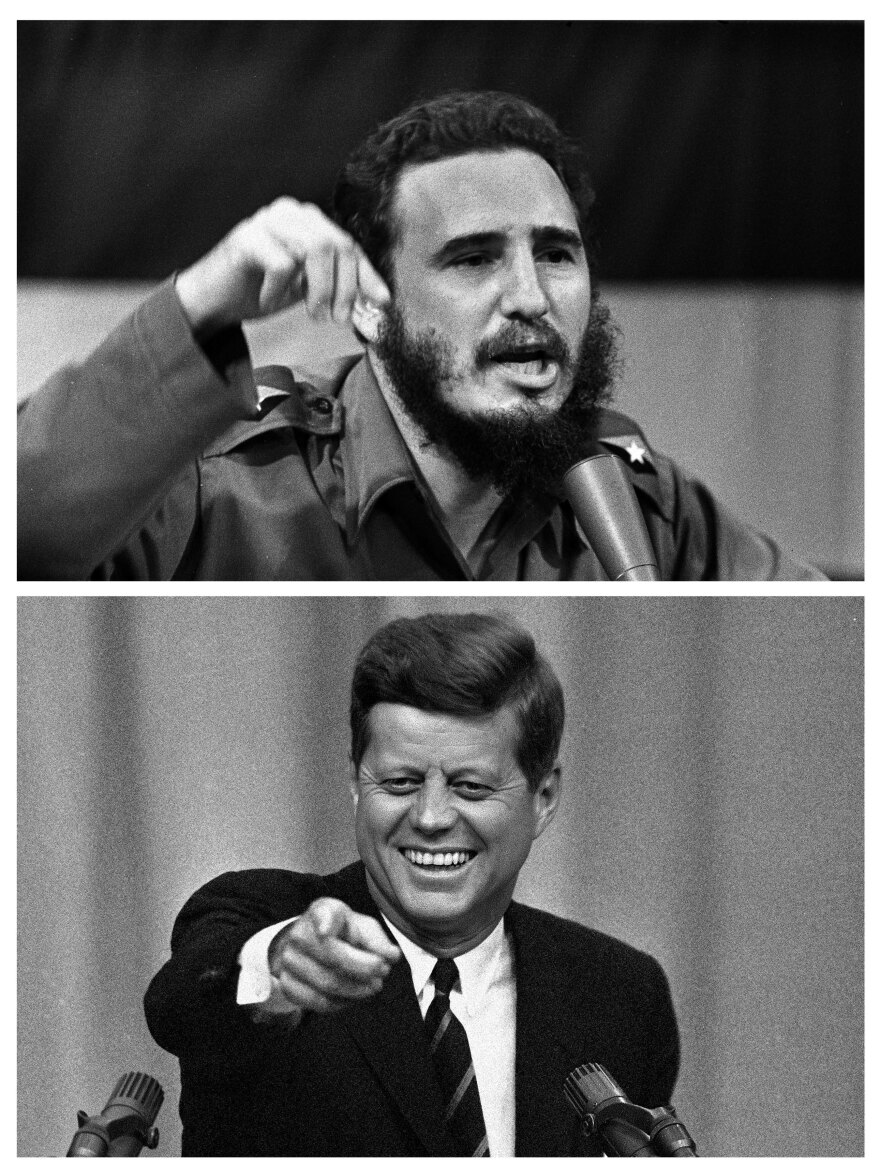 Cuban leader Fidel Castro delivering a speech in Cuba, on Oct. 23, 1962, and below, President John F. Kennedy calls on a reporter at a news conference in Washington, in April 1963.