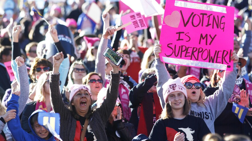 """Attendees cheer a speaker during the Women's March """"Power to the Polls"""" voter registration tour launch in Las Vegas on Jan. 21."""