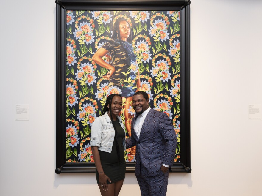 "Ashley Cooper and Kehinde Wiley. Wiley's portrait of Cooper makes visual reference to Daniel Martensz Mytens the Elder's painting ""Charles I.""  10/29/18"