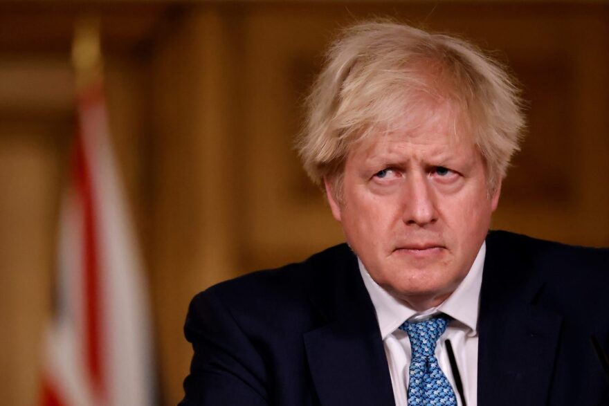 Britain's Prime Minister Boris Johnson attends a virtual press conference on the COVID-19 pandemic, inside 10 Downing Street in central London.