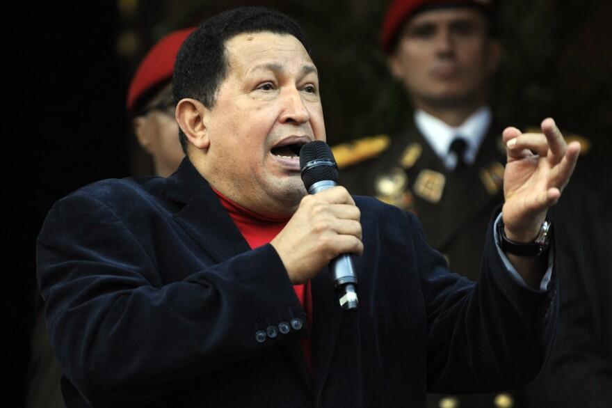 Venezuelan President Hugo Chavez speaks on November 1.