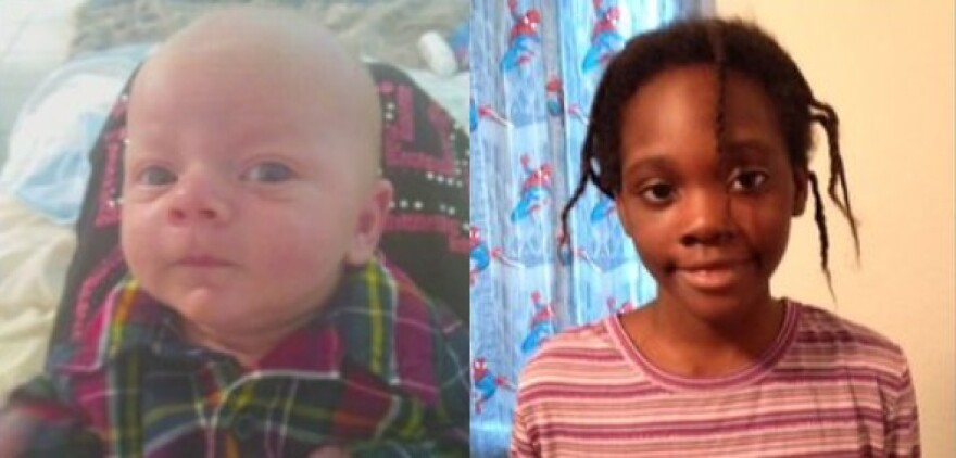 Newborn baby, Chance Walsh (left), and 11-year-old girl, Janiya Thomas
