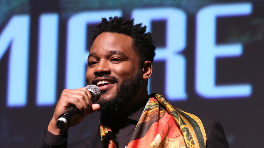 Ryan Coogler, director and co-writer of Marvel's <em>Black Panther</em>, speaks at the film's Los Angeles premiere in January.
