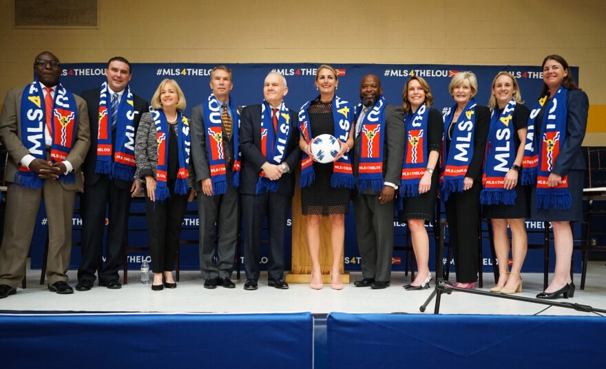 St. Louis civic leaders, members of the Taylor family, which owns Enterprise Holdings, and World Wide Technology Jim Kavanaugh announced plans to form a bid to attract a Major League Soccer expansion team in St. Louis. Oct. 9, 2018.