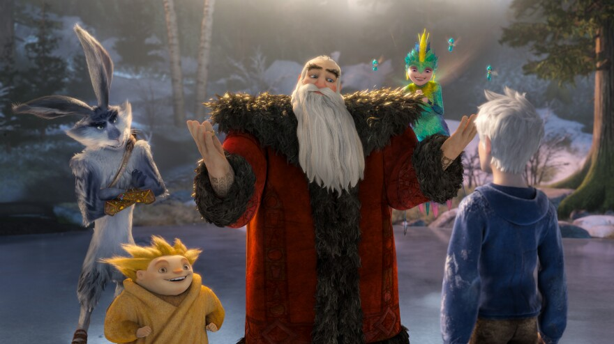 Bunnymund (Hugh Jackman, from left), Sandman, North (Alec Baldwin) and Tooth (Isla Fisher) welcome Jack Frost (Chris Pine) in DreamWorks Animation's <em>Rise of the Guardians. </em>