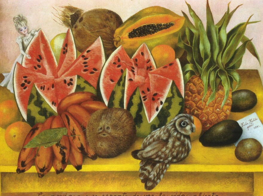 """Frida Kahlo's passion for food was evident in her many still lifes of fruit, like this painting entitled """"The Bride Frightened at Seeing Life Opened."""" She was also known for her raucous dinner parties in Mexico City."""