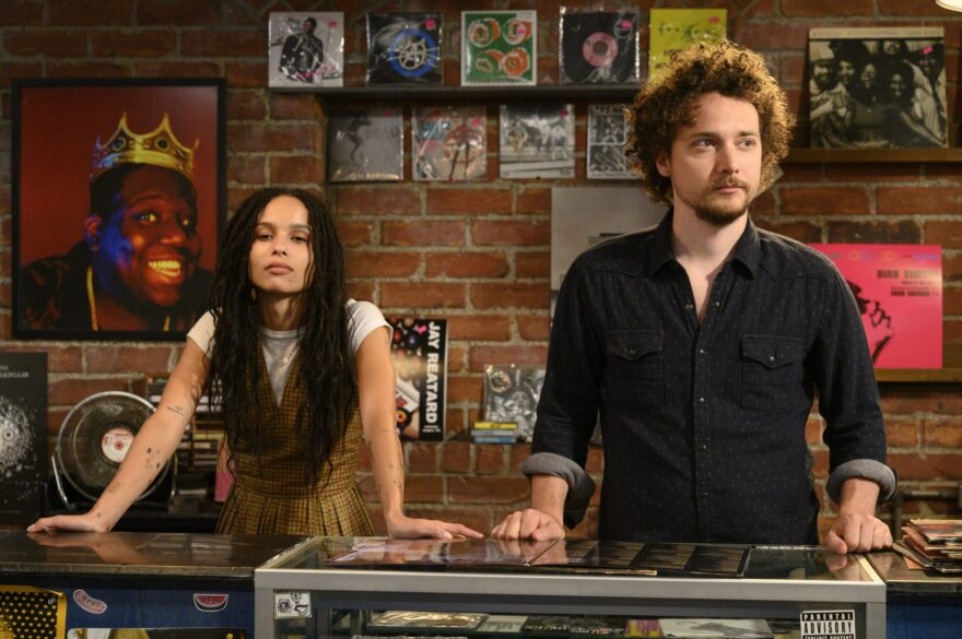 """Zoe Kravitz plays Robyn  and David H. Holmes plays Simon in Hulu's new adaptation of """"High Fidelity."""""""