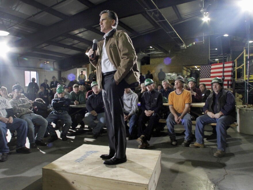 Republican presidential candidate Mitt Romney speaks at a campaign stop with millworkers at the Madison Lumber Mill on Monday in Madison, N.H.