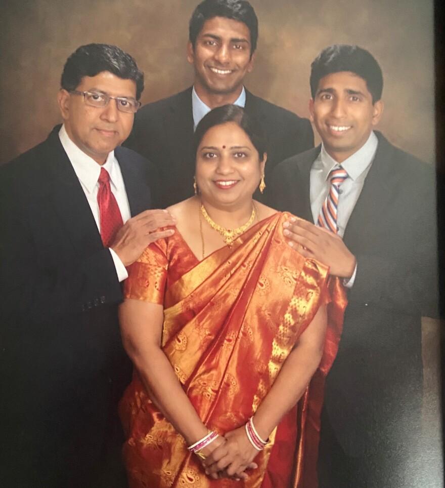 Raja and Bharathi Rajasekaran with sons Sarvesh and Prasanna.