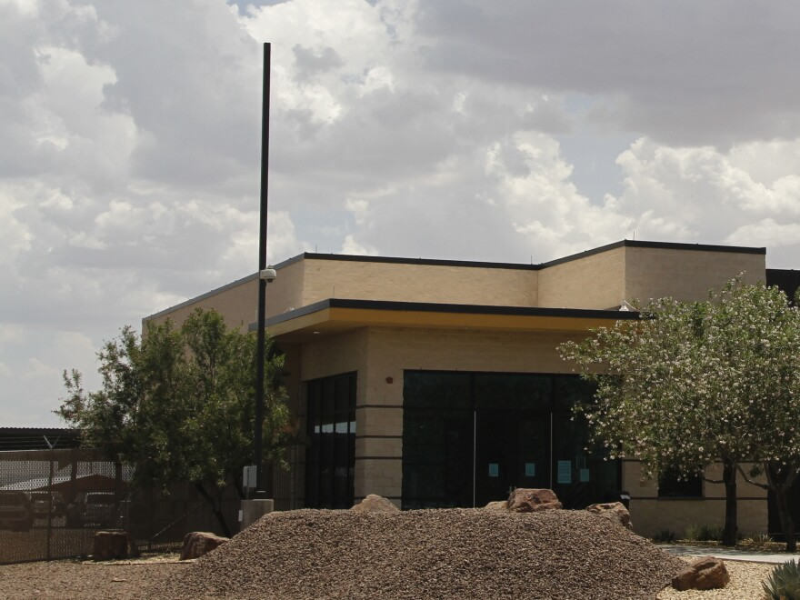 The entrance to the Border Patrol station in Clint, Texas, where reporters were given a tour following outrage over reports of unsanitary detention conditions for migrant children being housed at the Border Patrol facility near El Paso.
