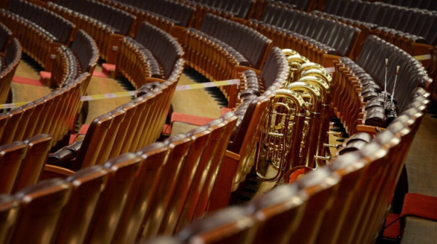 Musical instruments wait for the arrival of the orchestra during the closing session of the Chinese People's Political Consultative Conference at the Great Hall of the People in Beijing on March 12.