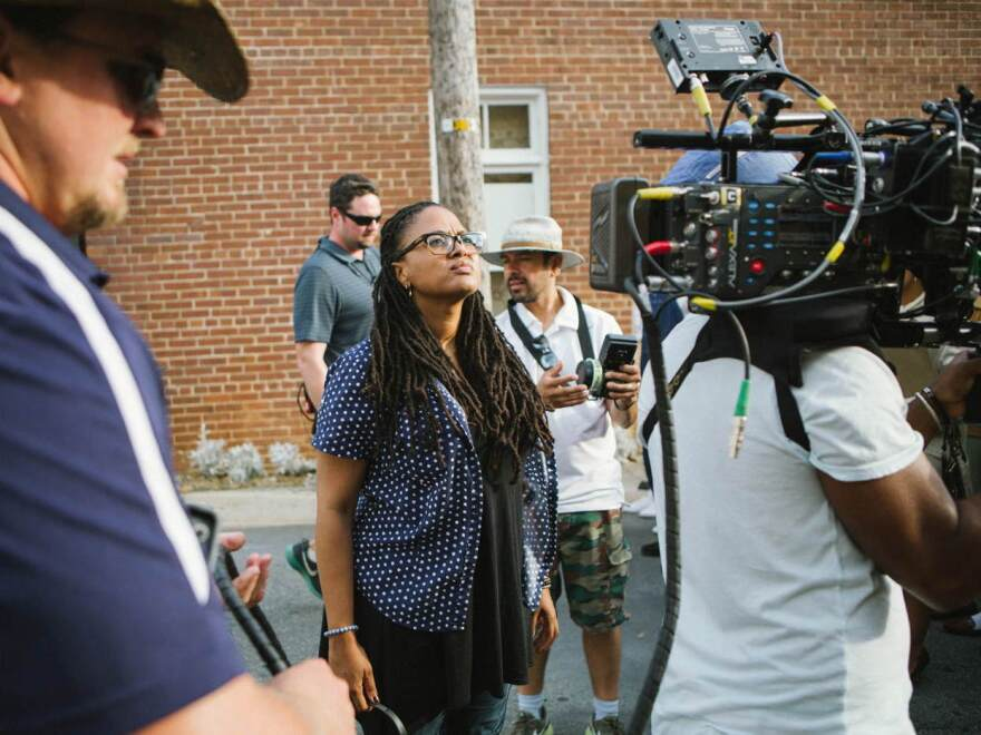 Director Ava DuVernay on the set of <em>Selma</em>.