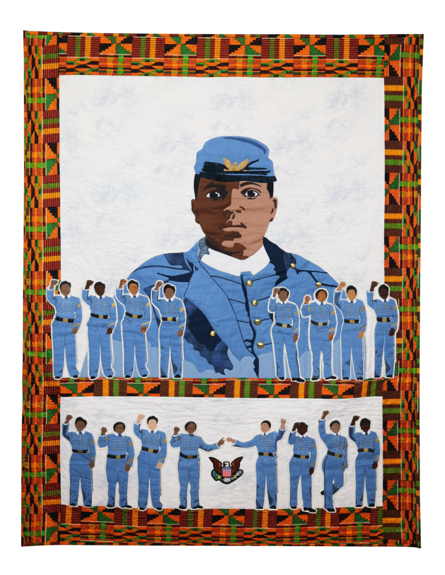 We Stand on the Shoulders of our Ancestors, created by Dorothy Burge and Judy Wolff, shows sixteen of the eighteen African American female cadets who graduated from West Point in 2016.
