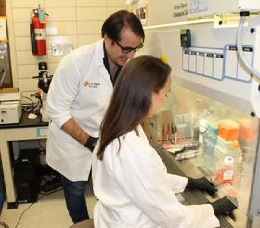 UT Health San Antonio pharmacologist Daniel Lodge works in his lab to try to tease out the neurobiological causes of schizophrenia so he can create new and more effective treatments.