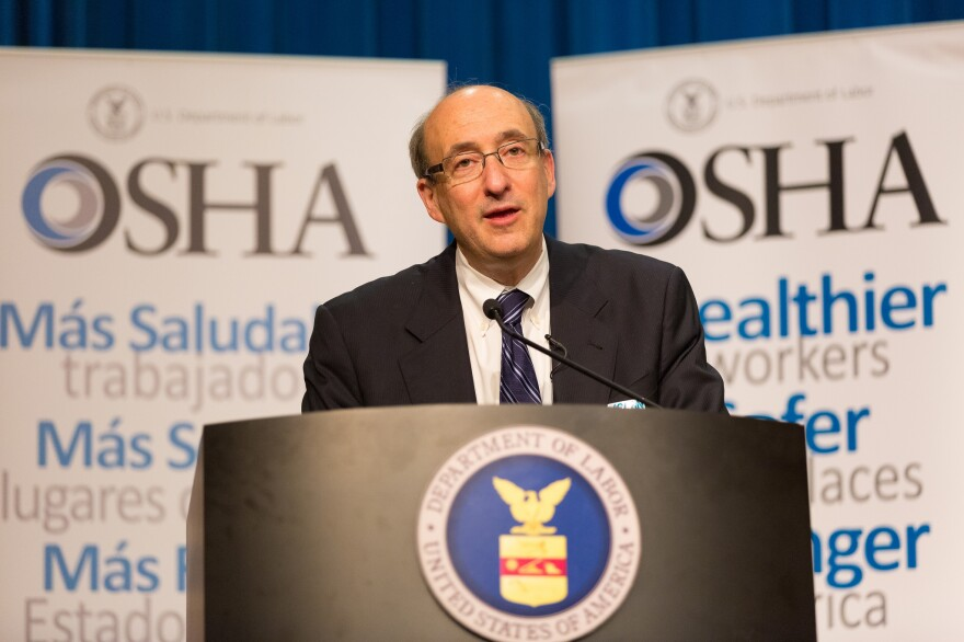 "OSHA's David Michaels — shown here at an event in April 2014 — acknowledges that more needs to be done to prevent nursing injuries, but he says his agency is using ""moral suasion"" instead of regulations to do it."