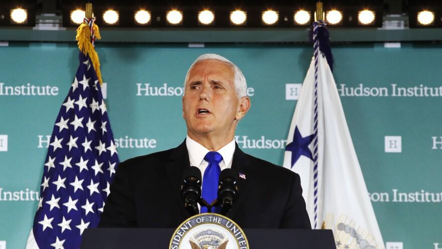 Vice President Mike Pence speaks Thursday at the Hudson Institute in Washington, D.C.