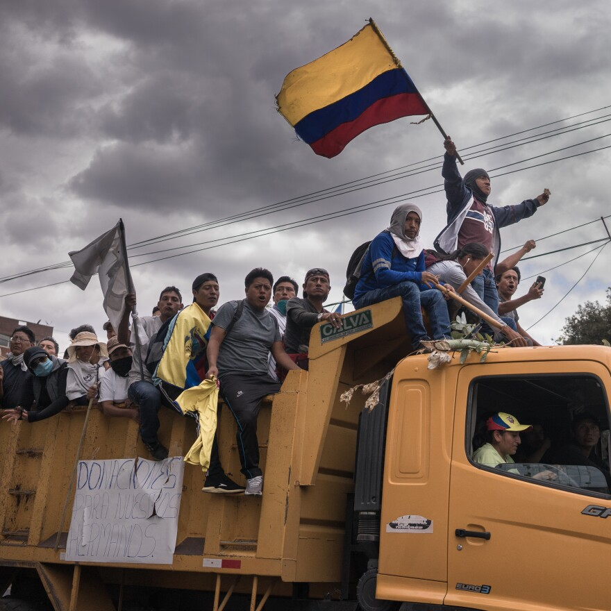 "Protesters on a truck on their way to ""El Arbolito,"" one of the most important concentration points during the social protests in Ecuador, October 2019."