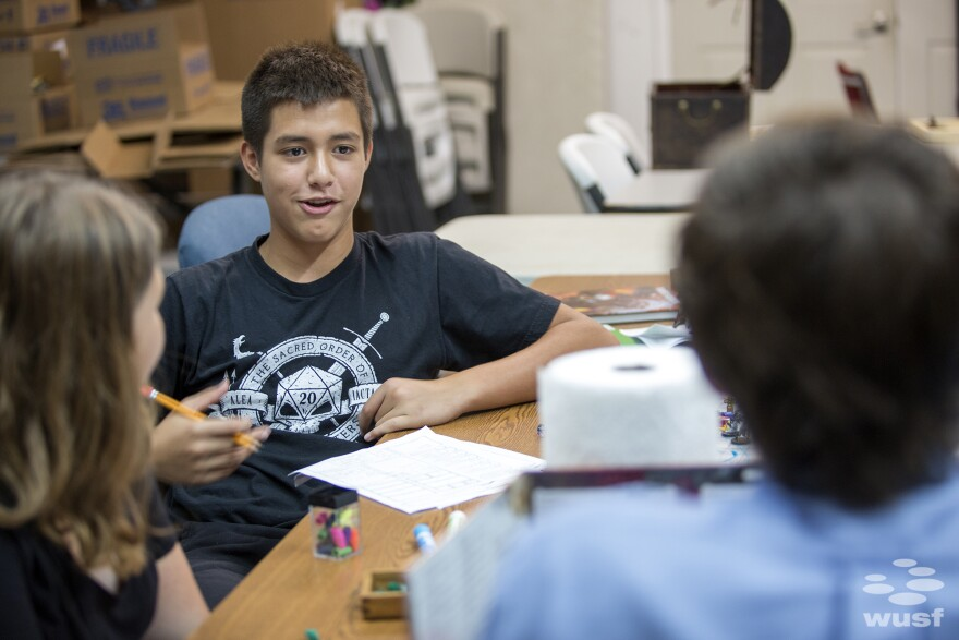 Brenten Glass, 12, was one of four players at the inaugural Dungeons & Dragons group therapy session.
